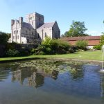 Church of St Cross and carp pond
